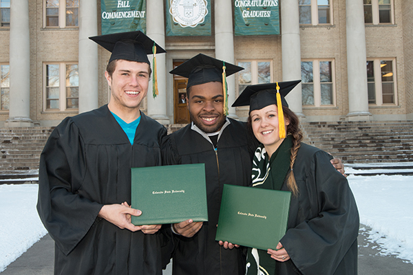 Chelsey Green, Robert Duran and Terrance Harris stage graduation photos at Colorado State University, December 20, 2012